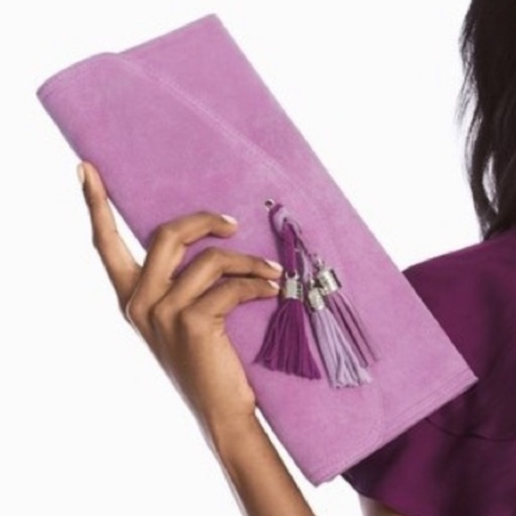 White House Black Market Purple Suede Clutch
